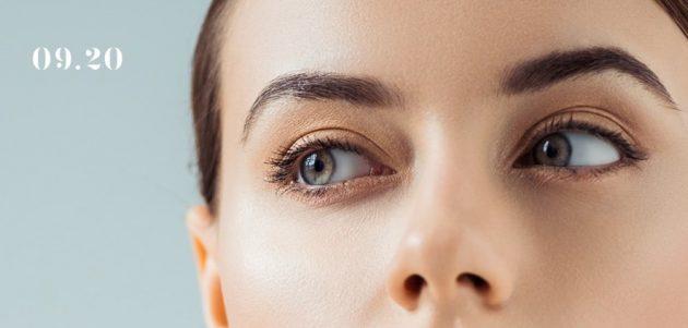 Closeup of model's eyes staring sideways