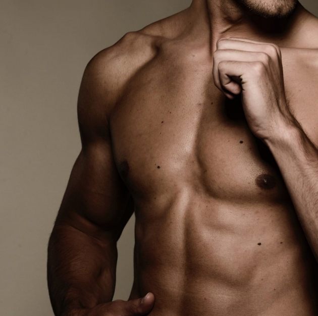Male model's chest with shirt off